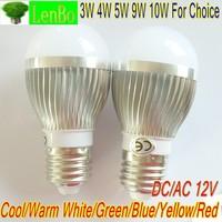 3W 4W 5W 9W 10W high poower E27 base 12V AC/DC 2 pcs/lot LED lamp Globe Bulb silver spot light down lights 6 colors LB4