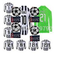 2014-15 UEFA League long sleeve soccer jersey VIDAL PIRLO Morata TEVEZ MARCHISIO POGBA CHIELLINI Football shirt UCL + Respect