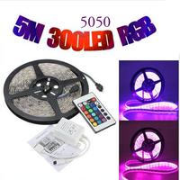 Free Shipping LED Strip 5M 5050 RGB Waterproof IP65 300 LED Strip Light 12V DC 24 Key IR Controller