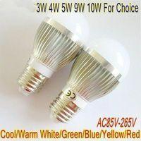 8PCS/LOT High Power LED lamp 3W 4W 5W 9W 10W E14 Globe lamp 220V 110V Cool Warm White silver body LB4