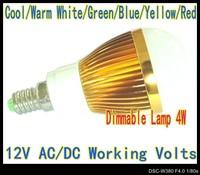 12V AC/DC 4W Dimmable E14 LED lamp Globe Bulb High Power spot Light down lights Lighting 6Color LB3