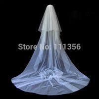 2015 New Style White New 2T Cut Edge Wedding Mantilla Trim Veil With Comb Hot Sale
