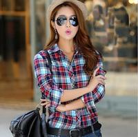 Blusa Femininas 2014 Women Blouses Clothing Women Casual Shirt Long sleeve Plaid Blouses Female Fashon Tights Shirts LJ143DB