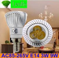 100pcs/lot Warm White AC85-265V E14 Base 3W 9W Dimmable High Power LED spotlight tubes bulb Lighting lamps LS52