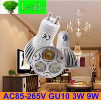 Free Express Shipping 100pcs/lot GU10 3W 9W LED spotlight tubes bulb Dimmable High Power spot light 220V Lighting lamps LS49