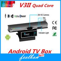 V3II Quad Core RK3188 2GB/8GB Smart TV Box Webcame With Mic,5.0mp Sype Camera HD Camera Bluetooth Wifi HDMI XBMC Support
