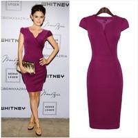 2014 Hot Sale autumn new women's backing seven point sleeve V-Neck collar slim black skinny OL dress Short Sleeve Pencil Dress