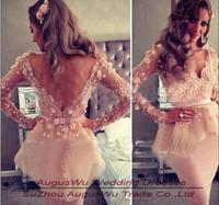 AEL3782 New Arrival Long Sleeves  Carpet Dresses V-neck Myriam Fares Dresses Knee Length Evening Dresses Custom Made Size