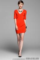 2014 New Arrival Fashion Women's Elegant Deep V-Neck Crochet Back Open Evening Party Dresses,Free Shipping