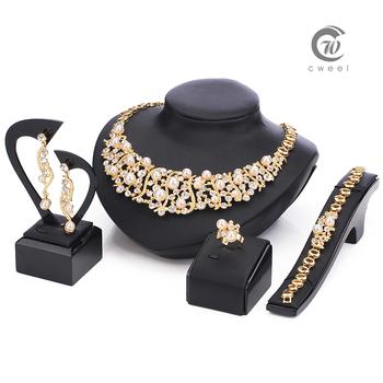 18 К позолоченные красочные перл австрийский хрусталь ювелирные комплект винтаж мода ожерелья для женщин имитация свадебные аксессуары