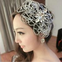 Factory direct bridal jewelry Korean bridal handmade rhinestone beaded frontlet headdress hair accessories