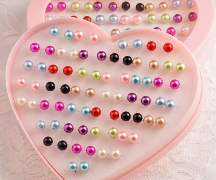 Free Shipping Big Sale Cute Women Small Pearl Stud Earrings Mix 36 Pairs/Box. Wholesale Fashion Girls Brincos Pequenos Earring(China (Mainland))