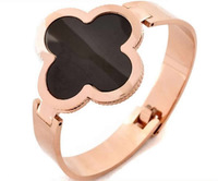 Free shipping!!!316L Stainless Steel Bangle,Cheap Jewelry, with Acrylic, Flower, rose gold color plated, 40mm