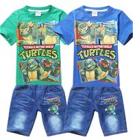 5sets/lot New Kids Boys Children Cartoon Teenage Mutant Ninja Turtles Clothing Sets Summer Short Sleeve T shirt +Jeans Shorts