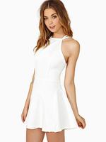 2014 New fashion women backless dress hot sale brand short sexy chiffon white evening dress