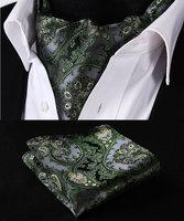 Green Grey Floral Solid Silk Cravat Woven Ascot Hanky Handkerchief Set