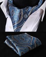 Blue beige Floral Silk Cravat Woven Ascot Tie Pocket Square Handkerchief Suit Set