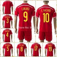 New Fashion 14-16 European nations cup Hazard Lukaku kompany Vermaelen Origi Kit Uniforms Red Black Jerseys Soccer Jersey