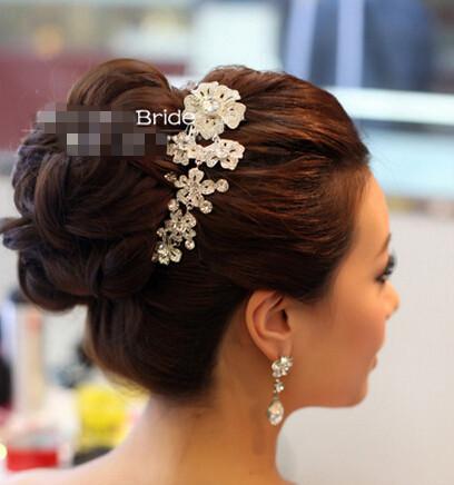 Free shipping bride hair accessory rhinestone flower comb marriage ornament dress jewelry wedding SW194