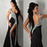 2015 New Arrival Sexy Chiffon Long Black Evening Dress Crystal Backless Mermaid Prom Gown Split Front E6200