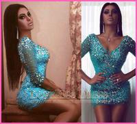 Sexy Sheer V Neck Three Quarter Sleeveless Crystal Beading Sheath Short Evening Cocktail Dresses 2015