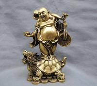 Wonderful 13'' China Bronze Happy Maitreya Buddha stand Dragon turtle Bronze Statue wholesale Cheap silver art gif