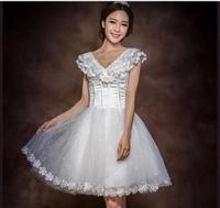 new bridesmaid dress short paragraph lace white  mini dress