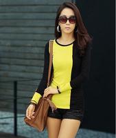 New Fashion Patchwork 2014 Basic O-neck Female Plus Velvet Long-sleeve T-shirt