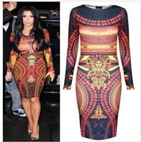 Ebay fashion 3d print sexy slim hip long-sleeve dress
