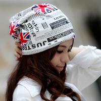 National flag hat 2014 female autumn outdoor ms cap British flag turban fashion bag cloth cap thin maternity all-match turban