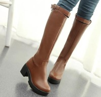 2 colors New 2014 Autumn Winter Knee High Boots Women Motorcycle Boots Platform Knee-High Boots Low Heel Buckle Leather Shoes