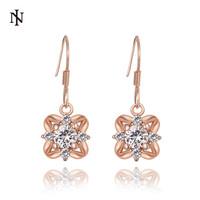 New Arrival 18k rose gold earring for lady Shiny CZ Crystal Drop Earring High Quality Fashion Design Earrings For Women KE1013-B
