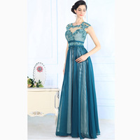Elegant Light Green Color Ladies Long Evening Dress Silk Net Design Sequined Rhinestone Decorated Evening Gown Evening Dresses