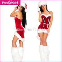 3 Pieces Santa Cosplays Women Sexy Christmas Costumes Red Xmas Cosplays Christmas Chrismas Party Fancy Clothing 3