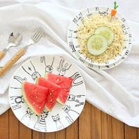 Cartoon cat ceramic plate dish circle fruit plate flat plate