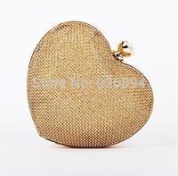 Sweet fashion casual dress with heart-shaped metal party purse clutch evening bags women mini chain shoulder bag messenger bag