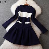 Women Brand Fashion Elegant Blue Woolen Long Sleeve Ball Gown Dress,Ladies 2014 Autumn Winter New European American Style D002