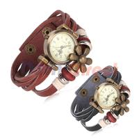 2014 New Fashion Leather Vintage Flowers watch Pendant Weave Wrap Wrist Quartz Watch for women lady Retro Pu leather Bracelets