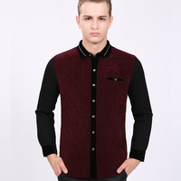 Free Shipping Men's Patchwork Button Down Long Sleeve Cashmere Shirt