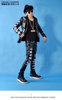 CHAOKA handsome ah! Luminous letters PU material slacks trousers nightclub singer costumes