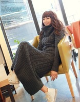 Winter 2014 Women Dress Fashion Sexy Micro Turtleneck Knitting Sweater Dress Long-Sleeve Ankle-Length Casual Long Dress