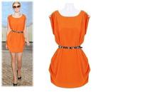 2014 Hot Sale Women New Tank Dress Crew Neck Sleeveless Dress Button-Shoulder Tunic Solid Color Dress With Belt roupas femininas
