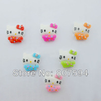 free shipping ! 100pcs/lot flat back resin very popular hello kitty mixed colors from Jewelry / Mobile phone DIY Accessory W13