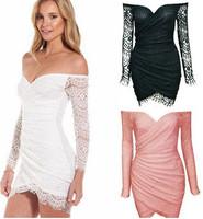 Summer Lace Dress 2014 Women Lace Bodycon Dress Long Sleeve V-Neck Off Shoulder Bandage Dresses Irregualr Strapless Dress 2624
