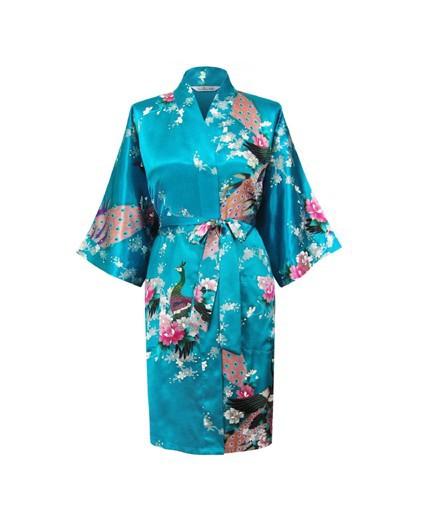 Hot Sale lago azul feminino cetim Kimono vestido estilo clássico roupão impresso Peacock & Floral pijamas tamanho sml XL XXL XXXL(China (Mainland))