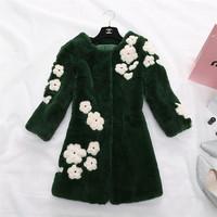 Factory 2014 New Design Women's Genuine Long Pull Pelt Rex Rabbit Fur Clothing/Fur Coat With Beautiful Flower High Quality