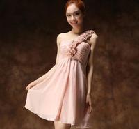 New fashion shoulder flowers short dress evening dress