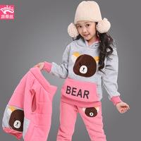 Autumn / Winter children Sets Kids Clothing Sets Warm thicken Cartoon Bear Girl's Hoodie 3pcs Sets waistcoat / Hoodie / pants