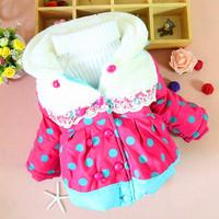 Children's clothing baby winter coat Korean version of the dot -grade velvet hooded jacket