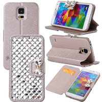 Luxury Bling Magnetic Leather Wallet PU Stand Flip Case Pouch For Samsung Galaxy S5 V i9600 ,Free Shipping